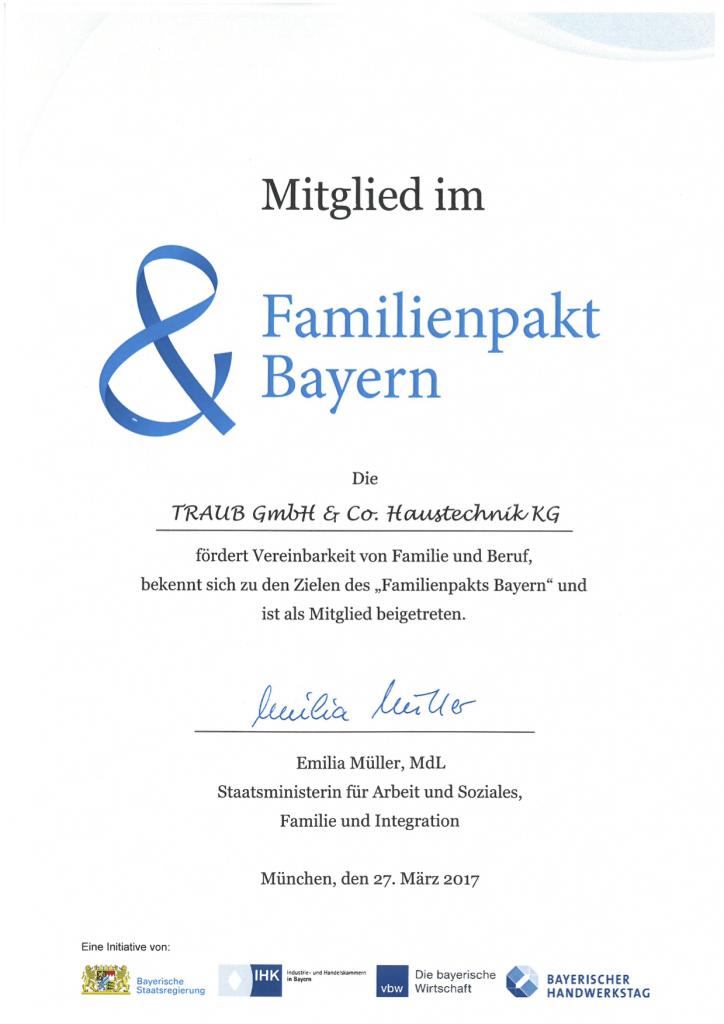 Familienpakt Bayern-Urkunde